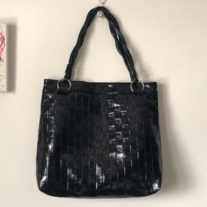 Faux woven patent leather unstructured tote bag